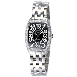 EUROSTAR 優雅知性字體晶鑽時尚錶(黑-小)