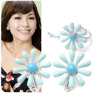 【A.dore】純愛之戀˙湛藍小雛菊花朵耳環戒指套組