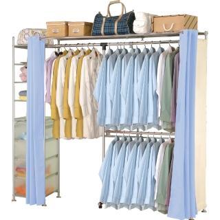 【巴塞隆納】NEW第三代自由搭防塵伸縮衣櫥-附置物櫃