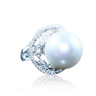 蕾帝兒名品-姿態純白深海貝珠戒指
