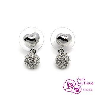 【約克精品】動情施華洛元素晶鑽包銠金鈦金屬針式耳環(SGS認證)
