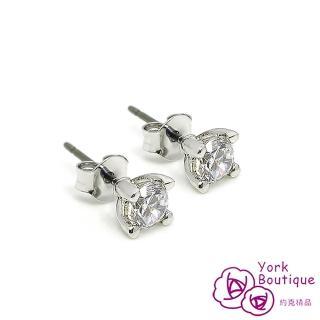 【約克精品】單顆包銠白金鈦金屬針式耳環(SGS認證)