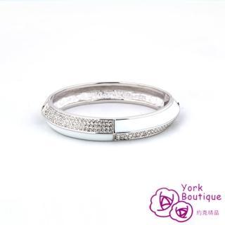 【約克精品】簡單白琺瑯施華洛元素晶鑽包銠金手環(SGS認證)