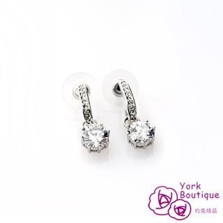 【約克精品】經典兩用施華洛元素晶鑽包銠金鈦金屬針式耳環(SGS認證)