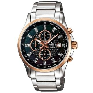 CASIO EDIFICE 閃耀時尚都會計時腕錶(黑)