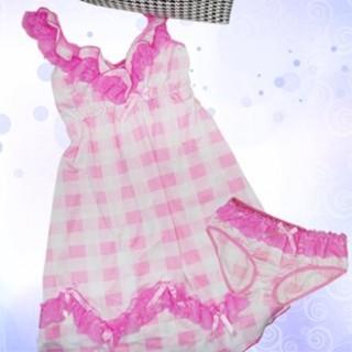 賽凡絲 紅粉佳人蕾絲滾邊連身睡衣 性感三角褲套組