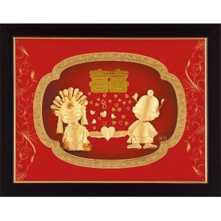 【開運陶源】金箔畫禮品 純金鴻運系列-雙喜臨門百年好合....33 x 26cm