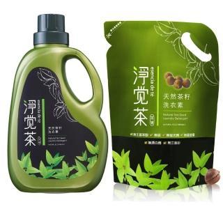 【淨覺茶】茶籽洗衣素2.3kg+補充包1.8kg(2.3kgx1+1.8kgx12)