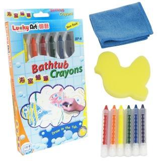 樂兒學超值2盒可擦拭水性環保6色浴室蠟筆(台灣製造)