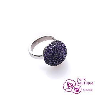 ~約克 ~紫醉晶迷施華洛元素晶鑽純銀包銠金戒指 SGS