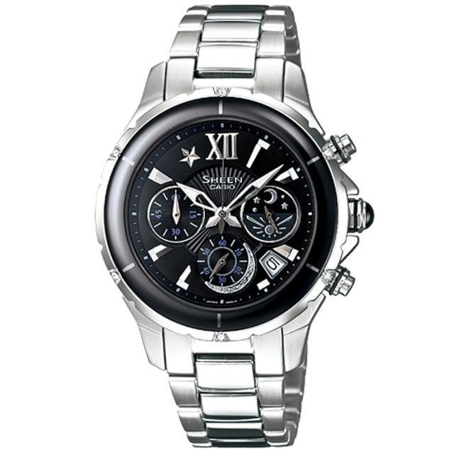 CASIO SHEEN 典雅璀璨日月計時陶瓷錶-黑- SHE-5512SG-1ADF