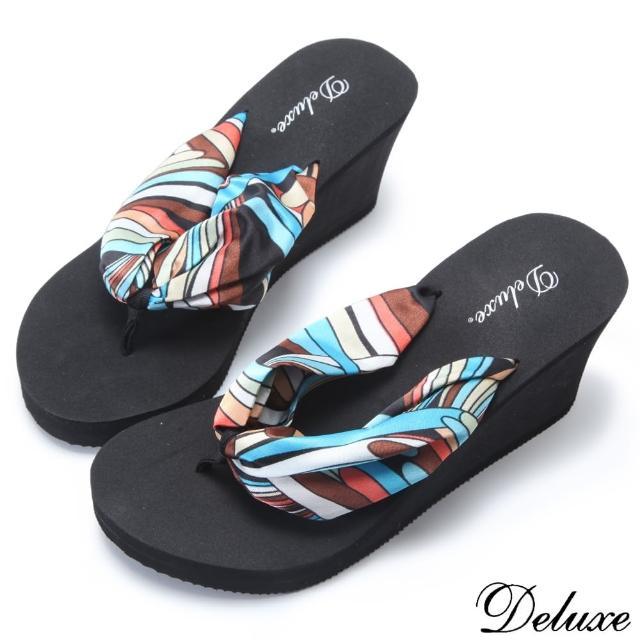 【Deluxe】沙灘甜心繽紛普普風楔型夾腳拖鞋(黑☆咖)