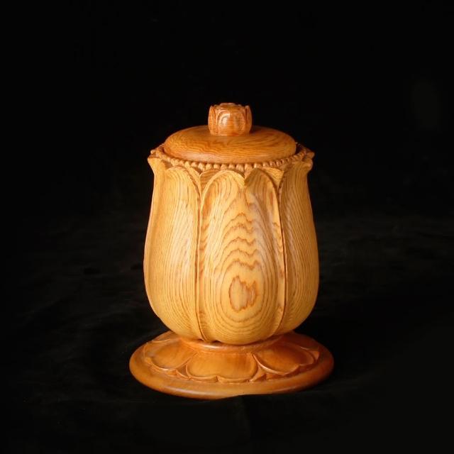 【荒木雕塑藝品】檜木手工雕刻供水杯(大)