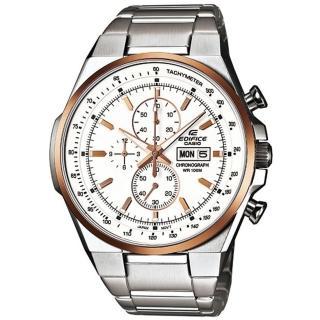 CASIO EDIFICE 個性賽車風運動時尚腕錶(白面金框) EFR-503D-7A5VDF