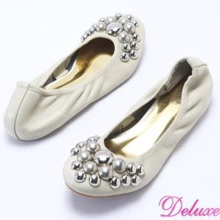 【☆Deluxe☆】柔軟彎曲-閃亮鉚釘全真牛皮娃娃鞋(★米)