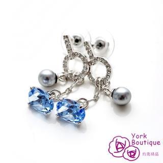 【約克精品】夏日情懷施華洛元素晶鑽包銠金不鏽鋼針式耳環(SGS認證)