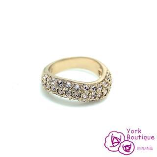 【約克精品】耀眼S流線施華洛元素晶鑽包18K玫瑰金戒指(SGS認證)