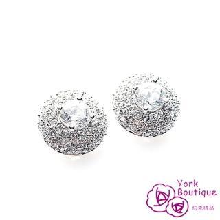 【約克精品】圓滿豪華施華洛元素晶鑽方晶鋯石包銠金夾式耳環(SGS認證)