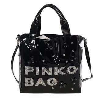 PINKO 混搭漆皮亮片串珠兩用包12D035-Z99-NER