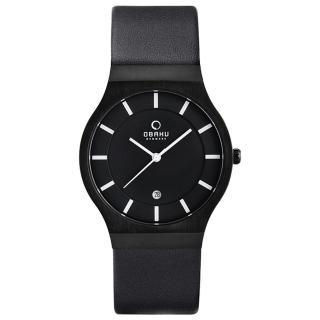 OBAKU 極簡時代優雅時尚腕錶-全黑-皮帶-大-V123GBBRB