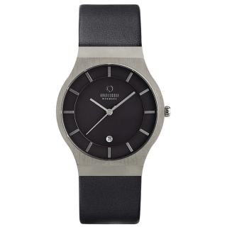 【OBAKU】極簡時代優雅時尚腕錶黑-皮帶/大(V123GCBRB)