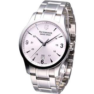 【Victorinox 維氏】Alliance 聯盟系列 紳士腕錶(VISA-241476銀白)