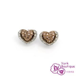 【約克精品】滿心愛雙色施華洛元素晶鑽包銠金鈦金屬針式耳環(SGS認證)