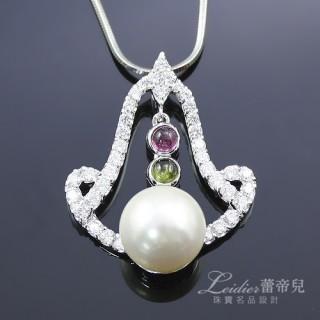 【蕾帝兒珠寶】愛意鐘響碧璽白色貝珠墜鍊