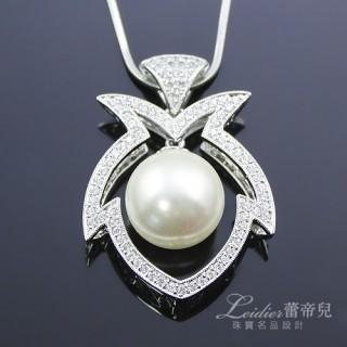 【蕾帝兒名品-】淡雅之美白色貝珠墜鍊