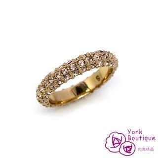 【約克精品】滿星施華洛世奇元素晶鑽包18K玫瑰金線戒(SGS認證)