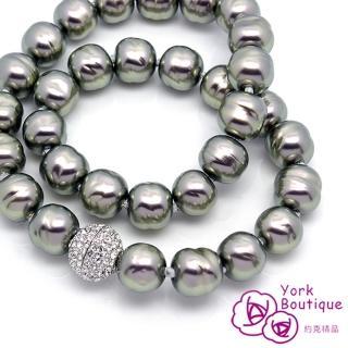 ~約克 ~變型黑琉璃珍珠施華洛世奇元素晶鑽包銠金項鍊^(SGS ^)