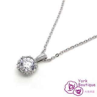 【約克精品】恆星施華洛世奇元素晶鑽包銠金項鍊(SGS認證)