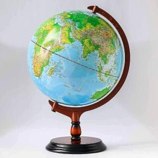 【SkyGlobe】12吋地形行政木質地球儀(中英文對照附燈)