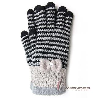 【Lavender】蝴蝶結條紋針織雙層手套(黑色)
