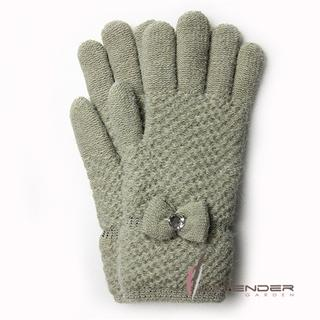 【Lavender】優雅名媛針織雙層手套(淺綠色)