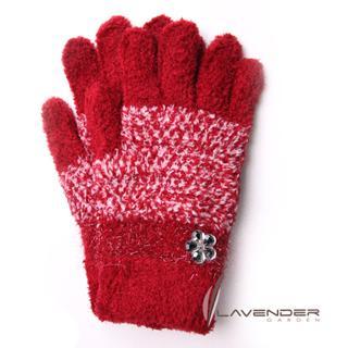 【Lavender】典雅晶鑽雙層手套(紅色)
