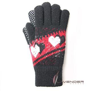 【Lavender】甜心雙層針織手套(紅黑色)