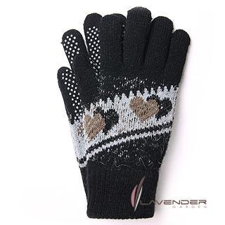 【Lavender】甜心雙層針織手套(黑灰色)