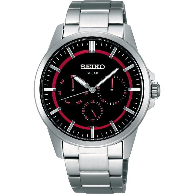 【SEIKO】風行者太陽能全日曆腕錶-桃紅(V14J-0AX0R)