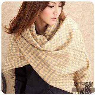 【靴下部屋】瑪麗外宿中˙千鳥格紋加大披肩圍巾(暖黃/灰)