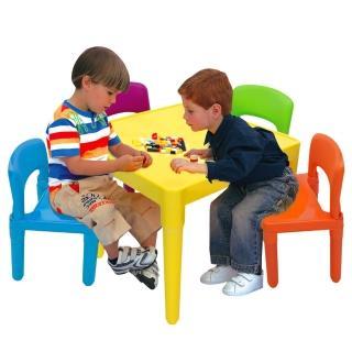 【寶貝家】繽紛桌椅組-一桌四椅( 生產喔)