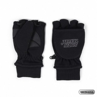 【SNOWTRAVEL】SNOW TRAVEL防風透氣雙層半指手套(黑色)