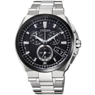 【CITIZEN】光動武俠鈦金屬電波時計腕錶(黑BY0074-50E)