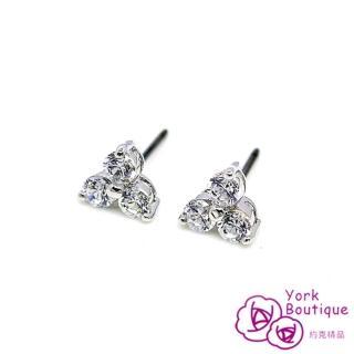【約克精品】非你莫屬方晶鋯石包銠白金鈦金屬針式耳環(SGS認證)