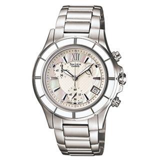 【CASIO】SHEEN系列 極光盛宴都會陶瓷晶鑽腕錶(白 SHE-5516D-7ADR)