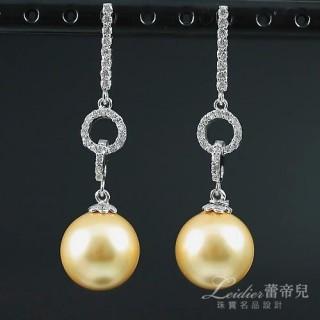 【蕾帝兒名品】高貴金色貝珠耳環