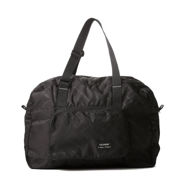 【Bag school】MIT休閒折疊收納式旅行袋-可掛拉桿行李箱(黑色)