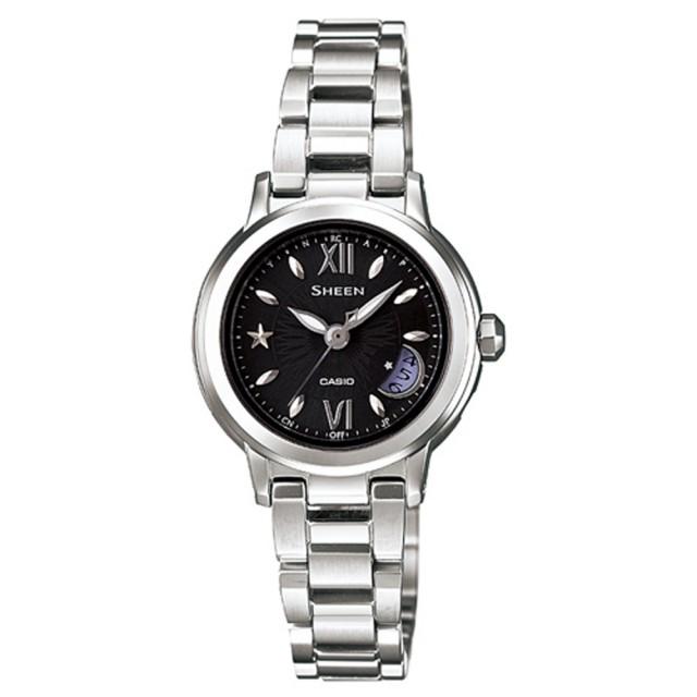 【CASIO】SHEEN系列 璀璨時尚電波都會腕錶(銀黑 SHW-1500D-1ADR)