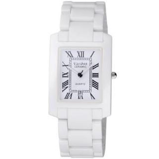 【Vaness】經典透亮羅馬時刻陶瓷腕錶(白/大V1200WM)