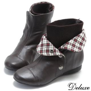 【☆Deluxe☆】人氣不敗-經典羊皮2way反折格紋暗釦襪套短靴(★黑★深咖)